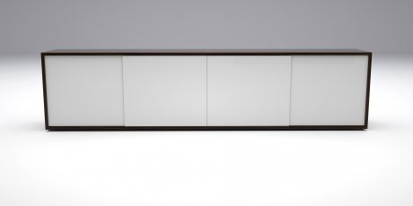 glass sliding door credenza in walnut