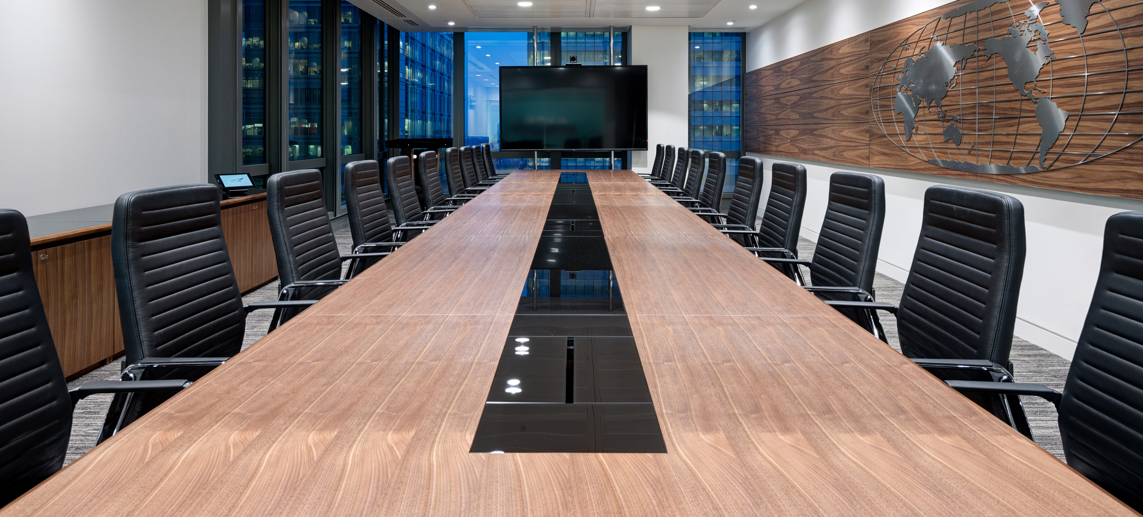 HK Walnut and glass boardroom table