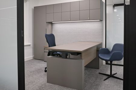HK executive office workwall with sit stand desk in in Fenix laminate
