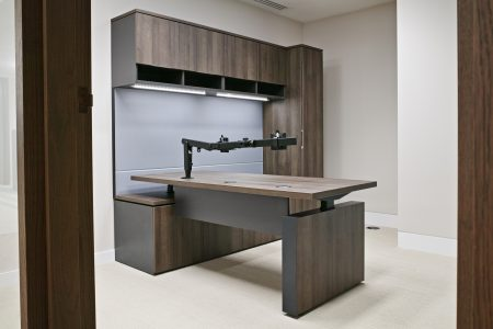 Executive office workwall with sit stand desk in laminate