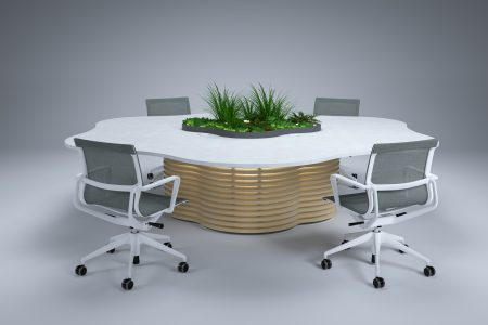 Collaboration table with office plants for office well-being