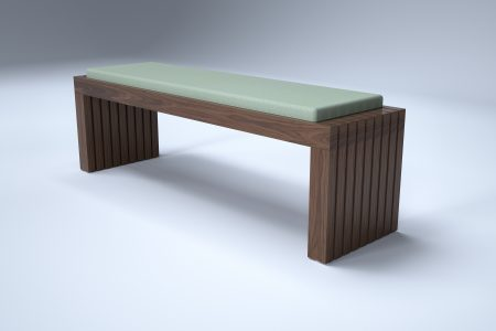 HK solid walnut bench seating for reception breakout area