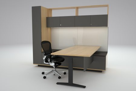 HK Executive Associates office storage and coat cupboard workwall in Oak and soft Touch laminate