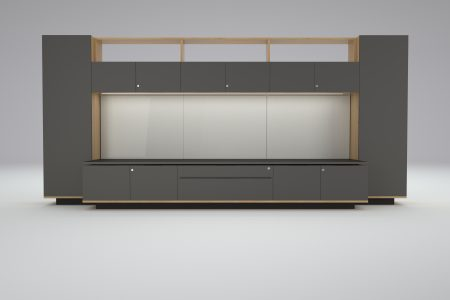 HK Executive partners office storage and coat cupboard workwall in Oak and soft Touch laminate