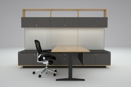 HK Executive partners office workwall in Oak and soft Touch laminate