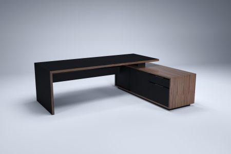 HK designs contemporary modern executive desk WALNUT AND black fenix
