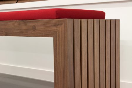 Solid wooden walnut office bench seating