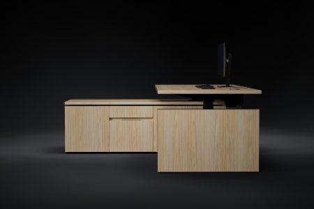 HK designs executive height adjustable desk side view oak